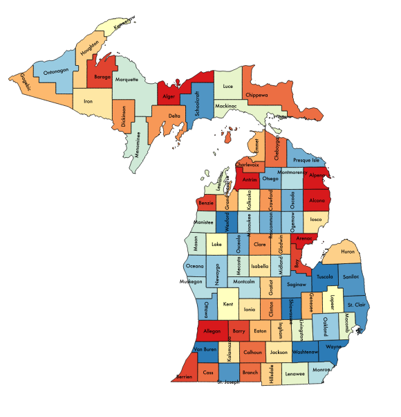 Michigan School-Justice Partnership – Team Members by County