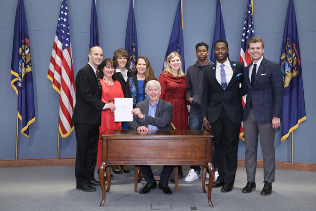 State Reps. Andy Schor (D-Lansing) and Adam Zemke (D-Ann Arbor) joined Honorable Dorene S. Allen, Angela Cole and Peri Stone-Palmquist and other supporters at the ceremonial bill signing for reforming Michigan's Zero Tolerance law, on Tuesday, Feb. 14, 2017.